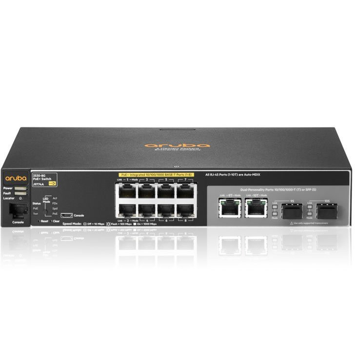 JL070A: HPE Aruba 2530-8-PoE+ Internal PS Switch